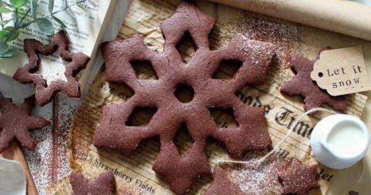 Biscottoni Fiocchi di neve al cacao vegan