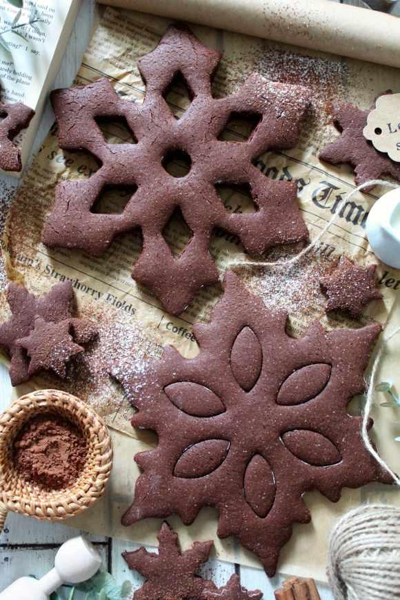Biscotti Fiocchi di neve al cacao vegan