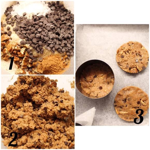 Cookies integrali con noci pecan gocce di cioccolato e cannella vegani procedimento