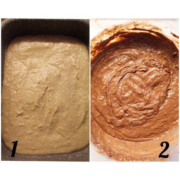 Torta nella torta di pan di spagna stellata vaniglia e cacao vegan preparazione