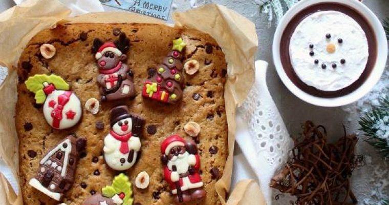 Biscottone di Natale al burro di arachidi e gocce di cioccolato senza uova