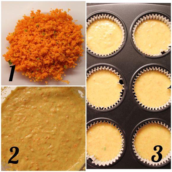 Muffin carote e arancia senza lattosio senza uova preparazione