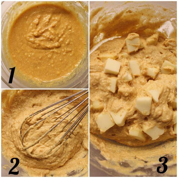 preparazione dei Muffins a foma di cuore salati con patate dolci e scamorza senza uova