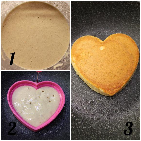 Pancakes a forma di cuore senza uova senza lattosio senza burro preparazione