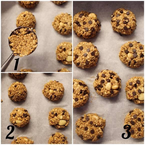 Oatmeal cookies con mandorle e nocciole senza olio senza uova senza latte procedimento