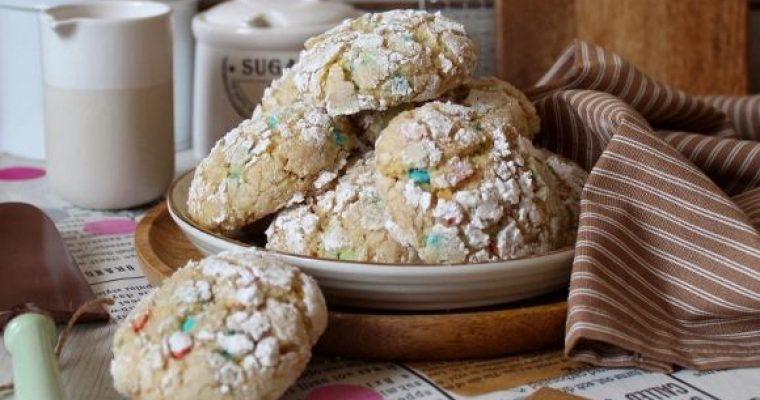 Biscotti Crinkles funfetti senza uova senza burro
