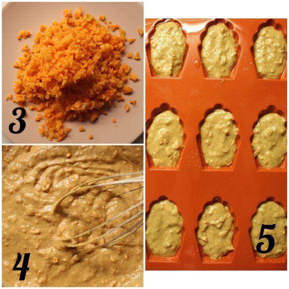 Madeleine carrot cake con crema al formaggio vegan procedimento