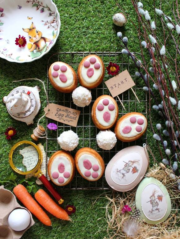 Tortine a forma di zampe di coniglietto senza uova