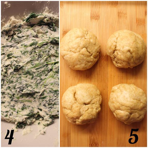 preparazione delle Mini Galettes salate ricotta senza lattosio e spinaci con olio evo