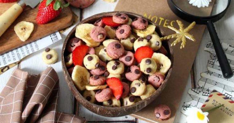 Cereali tipo cookie fragola e banana senza uova senza burro