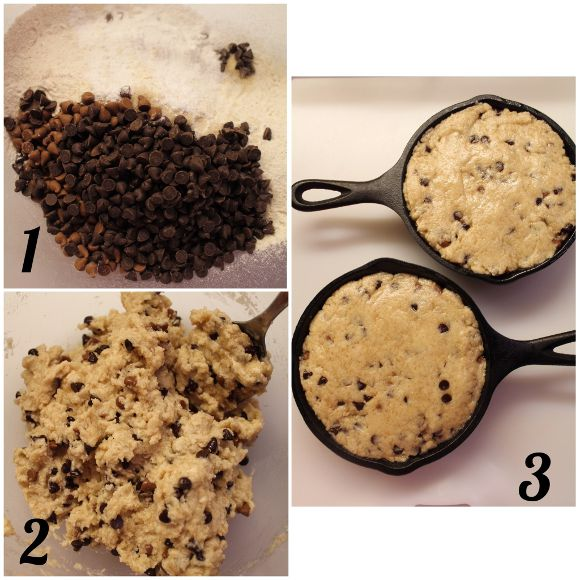 Mini Skillet Chocolate chip cookies con gocce di cioccolato fondente e al latte senza uova senza burro procedimento