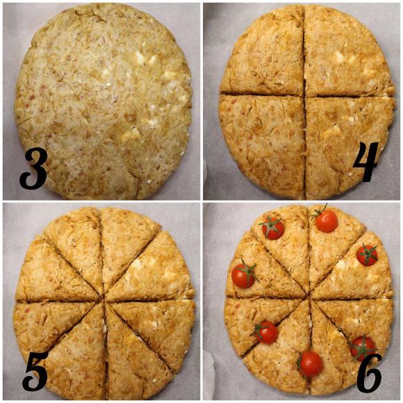 procedimento Scones salati al pesto rosso e feta senza burro
