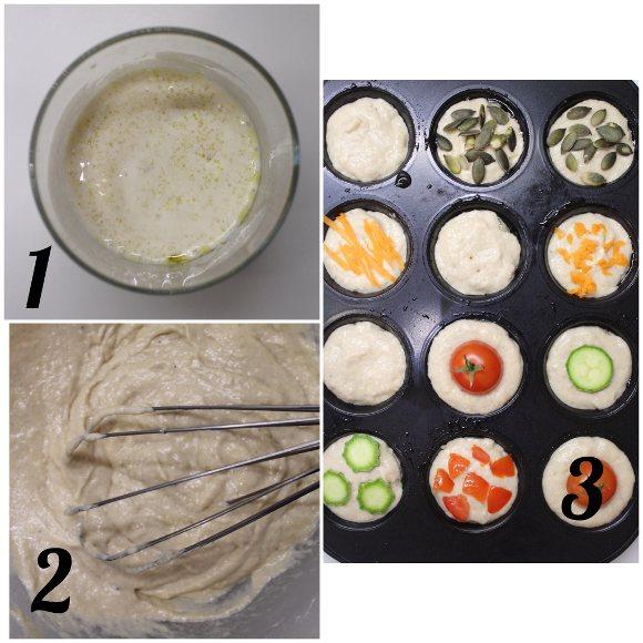 preparazione Pancake mini muffins salati senza uova