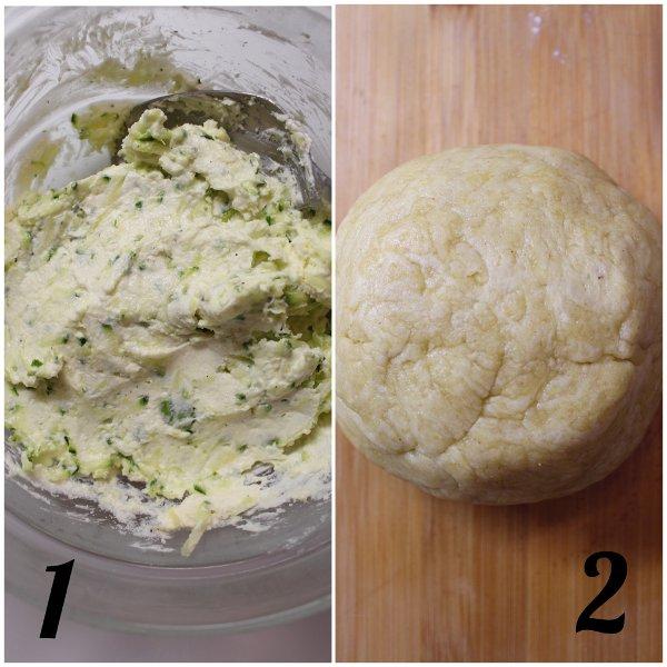 preparazione Biscotti pie cookies salati con formaggio spalmabile e zucchine all'olio evo senza burro
