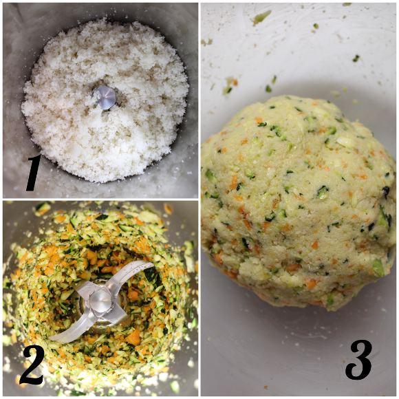 preparazione Polpette con zucchine carote e formaggio spalmabile vegetale senza uova