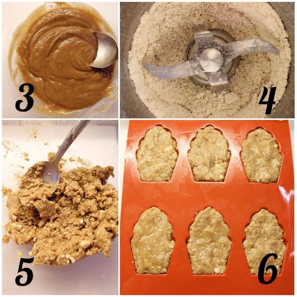 preparazione Biscotti a forma di madeleine con burro di nocciole fiocchi d'avena e mandorle senza cottura