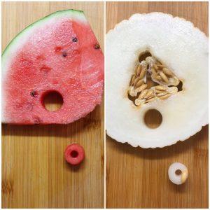 Ciambelle mini formato cereale di anguria e melone giallo