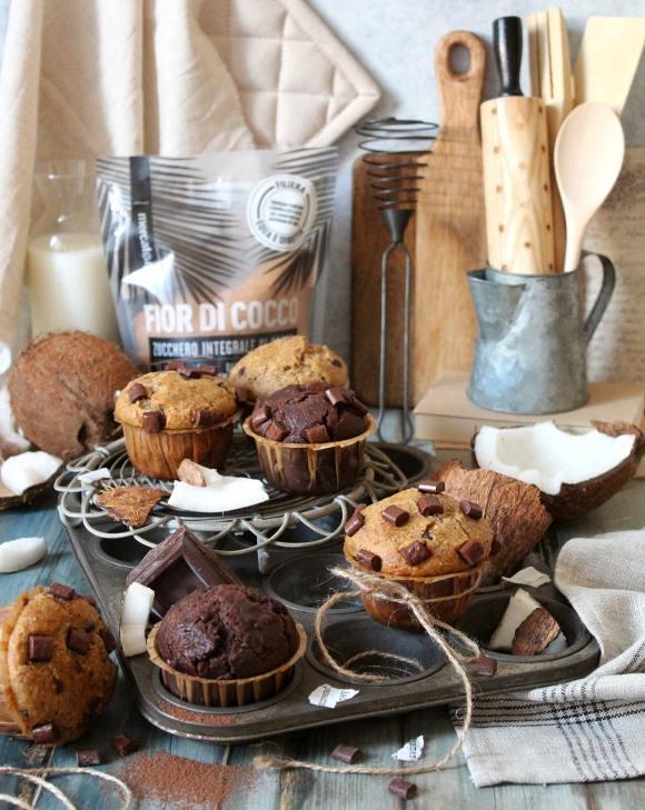 Muffins bigusto al grano saraceno cacao cocco e gocce di cioccolato