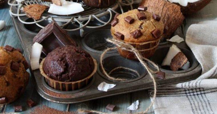 Muffins bigusto al grano saraceno cacao cocco e gocce di cioccolato senza uova senza burro