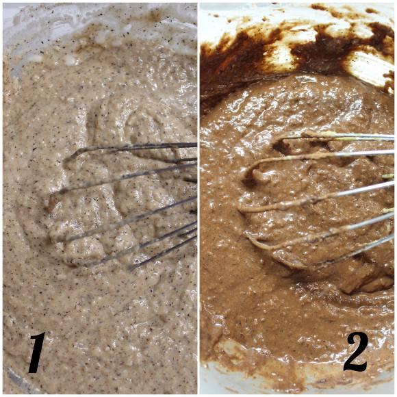 preparazione Muffins bigusto al grano saraceno cacao cocco e gocce di cioccolato senza uova senza burro