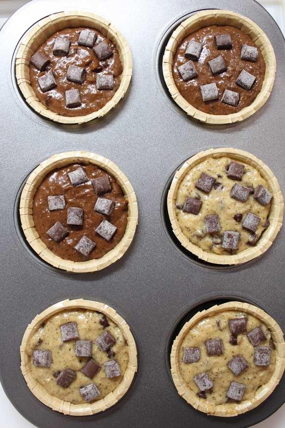 cottura Muffins bigusto al grano saraceno cacao cocco e gocce di cioccolato senza uova senza burro