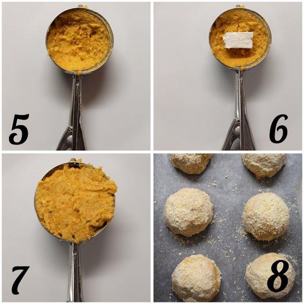 preparazione crocchette patate dolci senza uova con sorpresa di feta