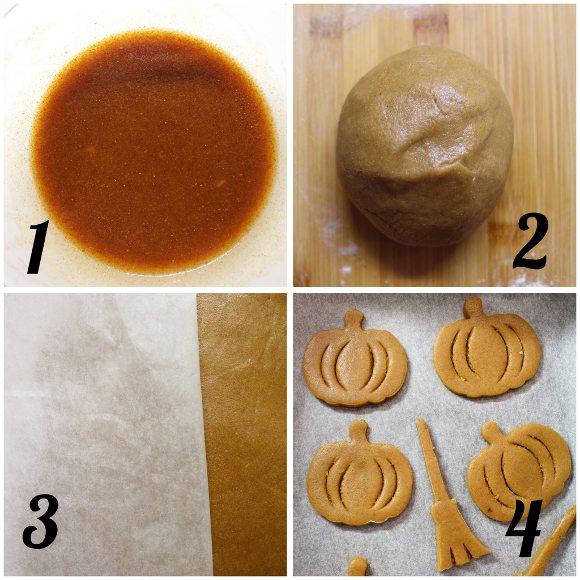 preparazione Biscotti a forma di zucchetta di halloween senza uova senza burro