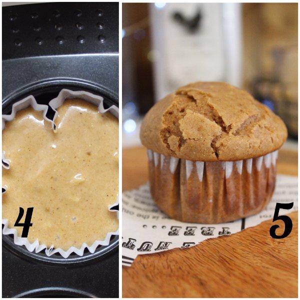 preparazione muffins con frutta secca farina di castagne cannella senza uova senza lattosio