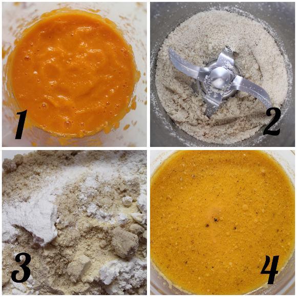 preparazione Torta a forma di zucchetta con farina di castagne frutta secca e sciroppo d'acero vegan
