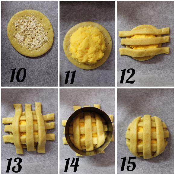 formazione Biscotti Pie cookies salati con ripieno di zucca all'olio evo senza uova senza burro