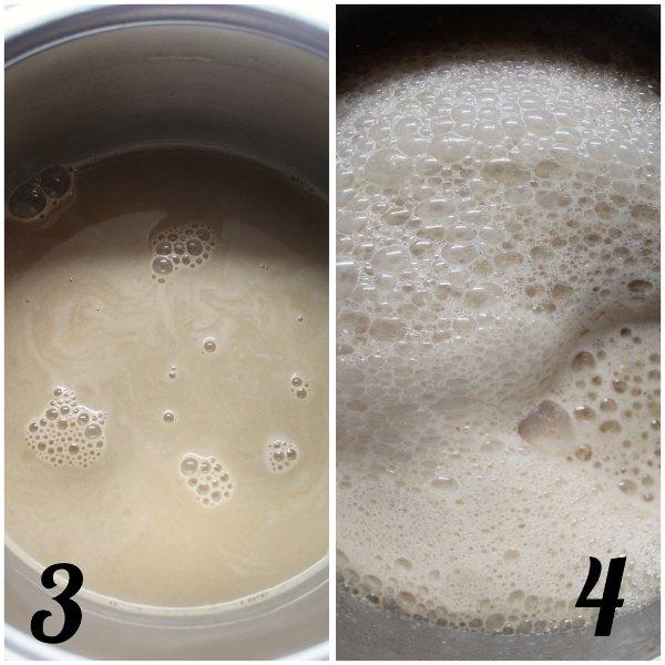 preparazione Latte alla mela speziato con purea di mela
