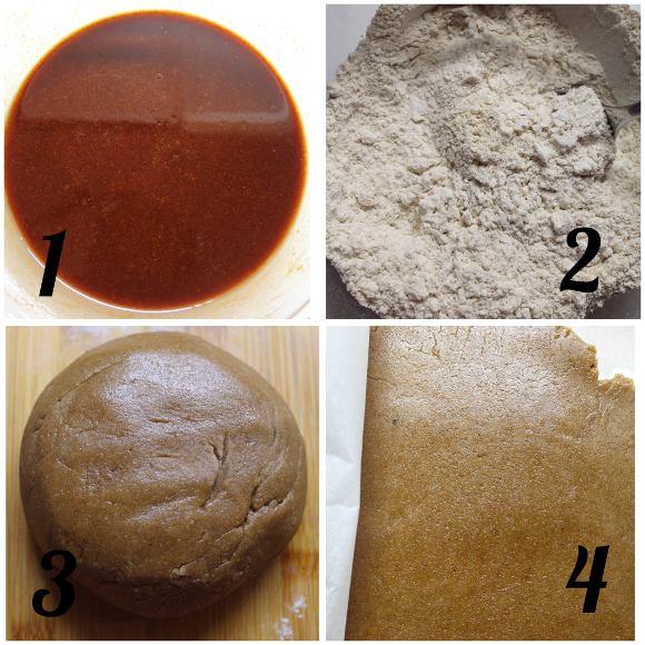 Biscotti pan di zenzero a forma di lettera senza uova senza burro preparazione