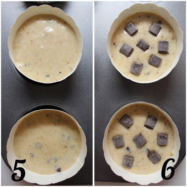 preparazione Muffins con purea di pera e gocce di cioccolato senza uova senza burro