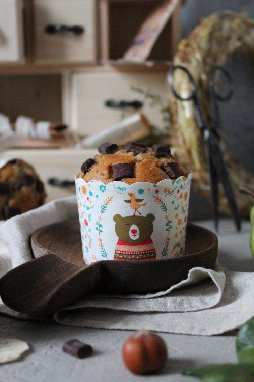 Muffin purea di pera e gocce di cioccolato senza uova senza burro