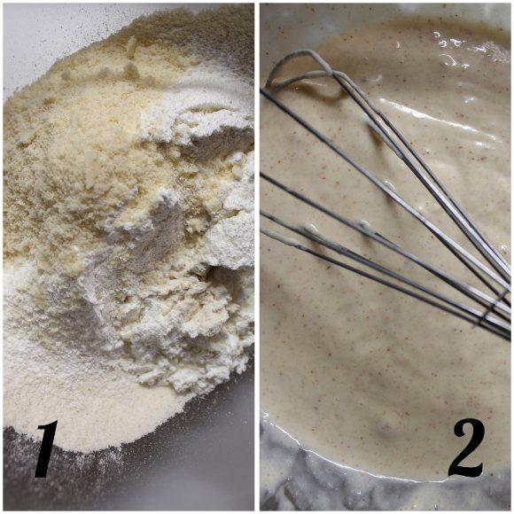 preparazione Waffles alle mandorle e cioccolato bianco senza uova