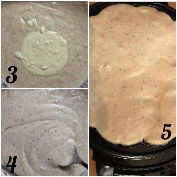 procedimento Waffles alle mandorle e cioccolato bianco senza uova