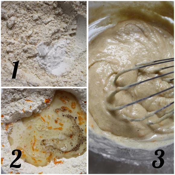 preparazione Madeleine a forma di cuore aromatizzate all'arancia vegan