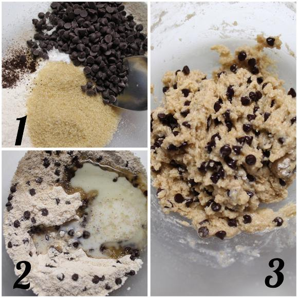 preparazione Mini Skillet Chocolate chip cookies: Biscotti cotti in padella al forno con gocce di cioccolato fondente senza uova senza burro