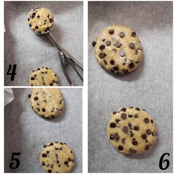 preparazione chocolate chip cookies senza uova