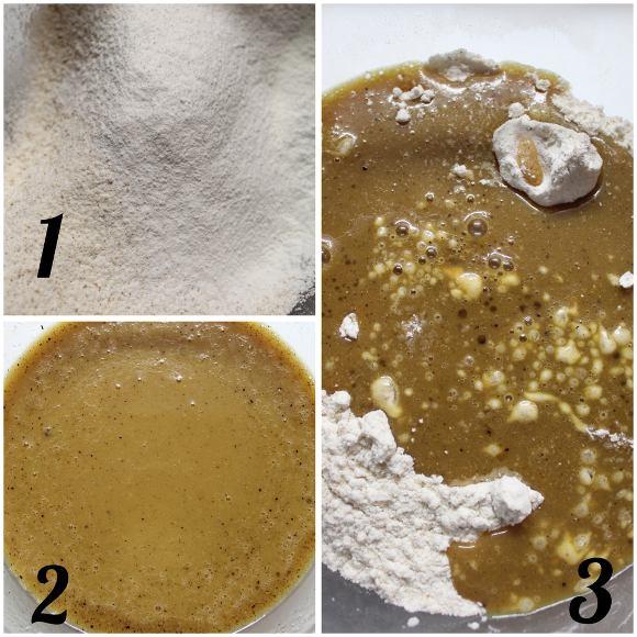 preparazione Madeleine con purea di mela gocce di cioccolato e zucchero integrale senza uova senza burro