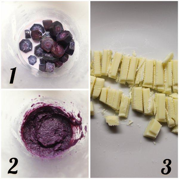 procedimento Latte alle carote viola e cioccolato bianco