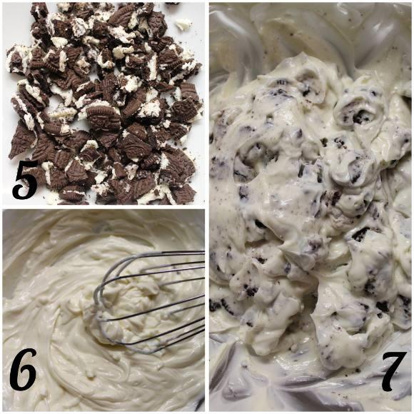 preparazione Frozen yogurt oreo con formaggio spalmabile a forma di waffle