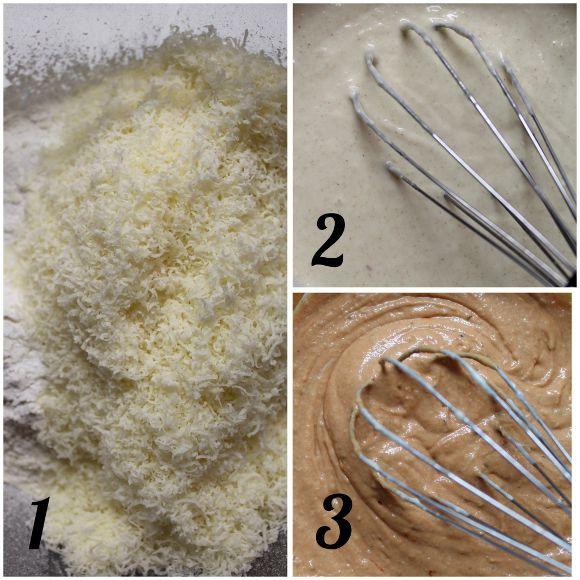 procedimento Waffles salati formaggio e al doppio concentrato di pomodoro senza uova