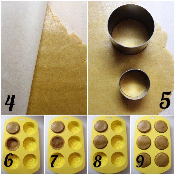 preocedimenti Crostatine a forma di limone con cioccolato bianco e marmellata di limone senza uova senza burro