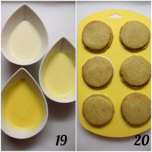 decorazione Crostatine a forma di limone con cioccolato bianco e marmellata di limone senza uova senza burro