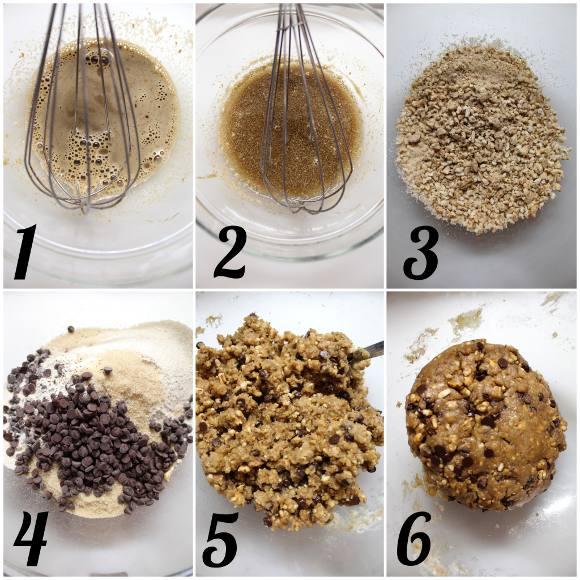 preparazione Cookies farina di orzo gocce di cioccolato e orzo soffiato con latte senza lattosio senza uova senza burro