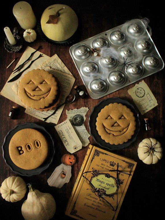 Biscotti giganti alla zucca di halloween senza uova senza burro