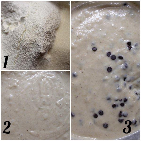 preparazione Ciambella con farina di orzo purea di pera e gocce di cioccolato senza uova senza burro