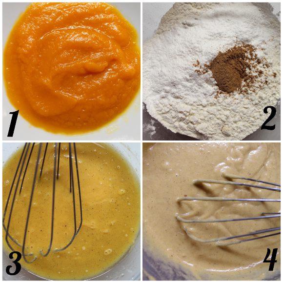 preparazione Tortine alla zucca a forma di zucchette senza uova